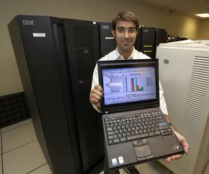 IBM engineer Benjamin Bayat demonstrates the Health Checker, part of the new graphical user interface on the IBM System z mainframe operating system. Graphical interfaces are part of a five-year, $100 million IBM program to make the mainframe so simple to use that anyone with a computer science background will be able to handle the Big Iron in a matter of months.
