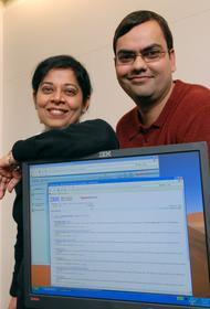 Madhu Kochar and Amit Somani,  software developers at IBM, show off new search software available for free from IBM and Yahoo! that helps organizations of all sizes find and access information stored within their business and across the Web. (Photo/IBM)