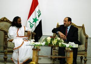 His Holiness Sri Sri Ravi Shankar, in discussion with Iraqi Prime<br> Minister Nouri Al-Maliki in Baghdad on Tuesday, May 22, 2007.<br> Al-Maliki urged Sri Sri to implement Art of Living's prison<br> rehabilitation program in the war-torn country.