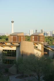 Springs Preserve in the foreground <br>with the Las Vegas Strip in the <br>background