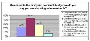 Compared to the past year, how much budget<br> would you say you are allocating to Internet tools?