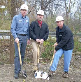 Groundbreaking ceremonies were recently held for AA Midwest's new auto recycling facility in Blue Island, Ill. Pictured l-to-r: Kevin Ridder, facilities manager, AAEQ/AA Midwest, Andy Vitale, Triad Construction, and Billy Stolberg, president and COO, AAEQ/AA Midwest.
