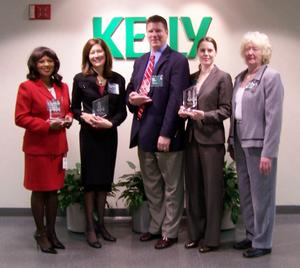Kelly Services' Supplier Diversity 2007 BRIDGE Award Winners - (Left) Gwendolyn Jenkins, President, The Broadview Group, LLC, Mary Ann Lievois, CEO, ISCG, Inc., (center) Bill Selers, Director, Relevante, Inc., (right) Tracey LaRowe, National Account Manager, ICONMA, LLC, and Marion Smith, National Account Manager, ICONMA, LLC.