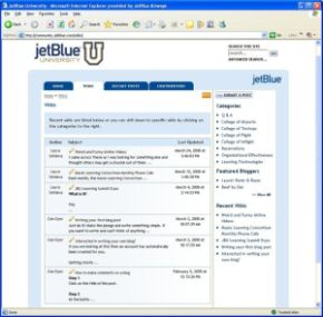 JetBlue University, the airline's main training function, enables crewmembers to share best practices on how to train other JetBlue crewmembers. The implementation is the latest step in JetBlue's social media strategy, and the first to leverage the Awareness platform and Web 2.0 tools.