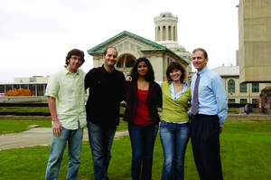 Appearing in the group photo from left to right are Carnegie Mellon University engineering graduate students Benjamin Flath, Constantine Samaras, Shahzeen Attari, Ines Margarida Lima de Azevedo, and Professor David Dzombak, a professor of Civil and Environmental Engineering at Carnegie Mellon and faculty director of the Steinbrenner Institute for Environmental Education and Research.
