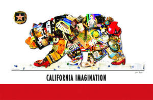 Over 300 objects and images from California artists and arts organizations were loaned for the California Imagination project, a rendering of the state's Bear Flag created by artist Jillian Kogan and produced by the California Arts Council. A flag of this image will be presented at the California state capitol in Sacramento on June 14, 2008, to celebrate Flag Day and the launch of the Bear Flag stamp from the U.S. Postal Service.