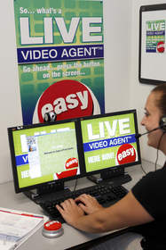 A customer service agent for STAPLES Business Depot helps a customer from thousands of miles away via the VIDEO AGENT system developed by Experticity.