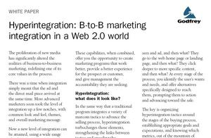 Godfrey's white paper, 'Hyperintegration: B-to-B Marketing Integration in a Web 2.0 World'