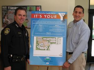 (From left to right) Pleasant Hill Police Chief, Pete Dunbar and Irvin Deutscher Family YMCA's Associate Executive Director, Michael Saenz.