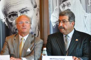 HM King Carl XVI Gustaf of Sweden and HH Prince Faisal bin Abdullah bin Mohammed, Saudi Arabia's Minister of Education, at a press conference on May 8, 2009.