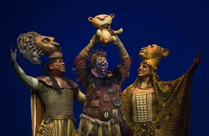 Alton F. White, Buyi Zama, and Marvette Williams in the opening number The Circle of Life from THE LION KING Las Vegas. (c)2009, Disney.  Photo Credit:  Joan Marcus.