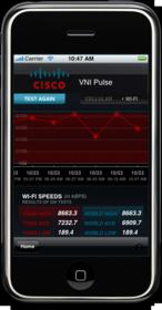 Sample iPhone results from Cisco Global Internet Speed Test (GIST)