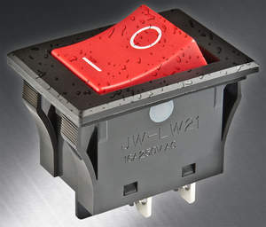 NKK Switches' new JWLW Series of snap-in mounted rocker switches were specifically designed to conform to IP67 rating of IEC60529 standards for panel seal and are dust-tight and protected against effects of temporary water immersion to 15 cm.