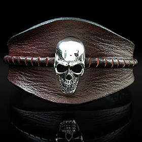 Royalty Collection - Leather Skull Bracelet