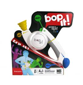 Bop-It! is the think fast game from Hasbro that calls all the shots and invites you to 'bop,' 'twist,' 'pull,' or 'shout' your way to victory.