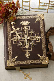 Jeweled Gold Leaf and Faux Pearl Family Bible and Bookmark KJV