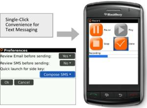 MyCaption for BlackBerry, Speech to Text for SMS Text Messages, with one-button convenience