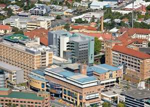 Aerial view of the Mater South Brisbane complex which includes Mater Mothers' Hospitals, Mater Children's Hospitals and Mater Adult Hospital