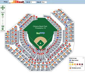 FanSnap dynamic map of Citizens Bank Park for NLDS Game 1 Philadelphia Phillies tickets (October 7,