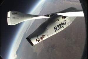 The fuselage of SpaceShipOne in space
