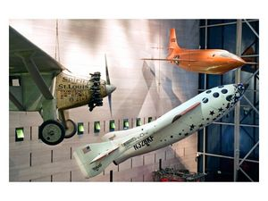 SpaceShipOne now hangs in the Smithsonian National Air and Space Museum