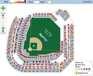 FanSnap dynamic map of Coors Field for NLDS Game 1 (October 7, 2009) | FanSnap - visual ticket searc
