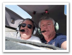 John T and Del Olson (right) in the 1949 Cessna C-140A used for the GPS SkyWriting adventure