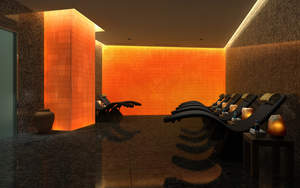The Spa's unique salt meditation room will feature a wall of illuminated salt bricks that encourages the healing of skin irritations and upper respiratory problems.