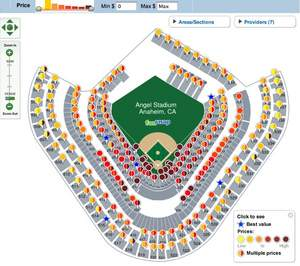 FanSnap map of MLB AL Championship Series New York Yankees at Angels - Game #3 tickets (October 19)