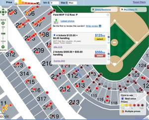 Zoomed in view of FanSnap ticket map of MLB ALCS Yankees at Angels - Game #3 (October 19) - Angel St