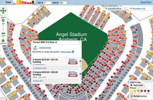 Zoomed in view of tickets on a FanSnap dynamic venue map of Angel Stadium for ALCS Game 3