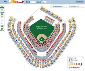 FanSnap Map of ticket listings at Angels Stadium for ALCS Game 3