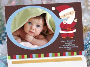 Design C42DW  - Blue Santa Christmas Photo Card