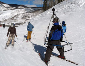 SlopeViews' camera teams capture ski resort facilities in 360-degree interactive views. Website viewers enjoy a 'you-are-there' experience, with complete control to look sideways, up and down, or all around.