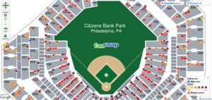 FanSnap map Citizens Back Park tickets row Phillies  World Series Game 3