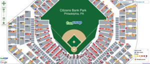 FanSnap map of Citizens Bank Park | MLB World Series comparing ticket prices by row