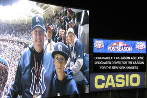 Yankees Designated Driver for the Season, Jason Abelove, recognized at World Series Game 1