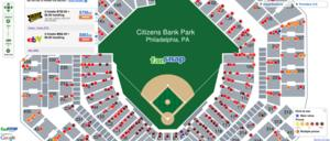 FanSnap map ticket visualization World Series Game 3 Citizens Bank Park