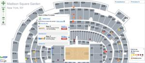 FanSnap tickets map of Madison Square Garden for NCAA Basketball 2K Sports College Hoops Classic, Co