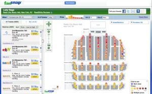 FanSnap Map of Lady Gaga tickets at Radio City Music Hall