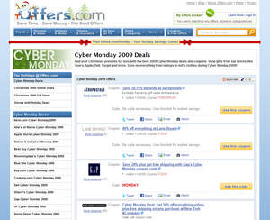 screen shot of Offers.com Cyber Monday deals page