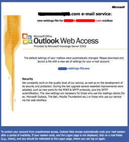 Example of spoofed Microsoft Office Outlook Web Access page from spear phishing campaign detected by Red Condor on January 7, 2009.