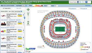 FanSnap Map of tickets for the NFL Playoffs NFC Championship Game Minnestota Vikings @ New Orleans S