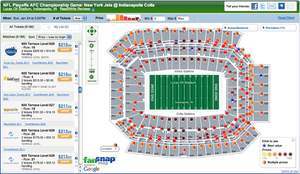 FanSnap Map of tickets to the NFL Playoffs AFC Championship Game New York Jets @ Indianapolis Colts