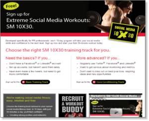 Social Media Fitness Program Landing Page