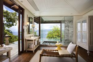 Suite Bath at The Four Seasons Seychelles designed by HBA/Hirsch Bedner Associates