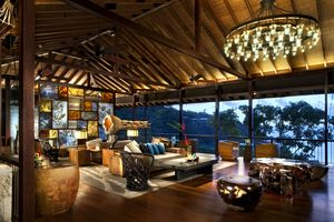Lobby at The Four Seasons Seychelles designed by HBA/Hirsch Bedner Associates