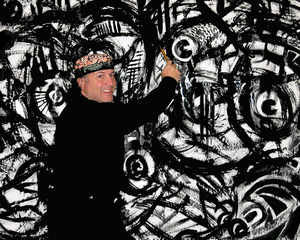 Visual artist Daniel Cascardo demonstrates an Art in Action Experience
