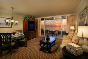 Marco Beach Ocean Resort Renovation - Renovation of the Two Bedroom Suites - Living Room at Sunset