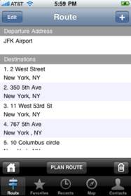 Route4Me iPhone App Screenshot: Sample Route with Multiple Destinations